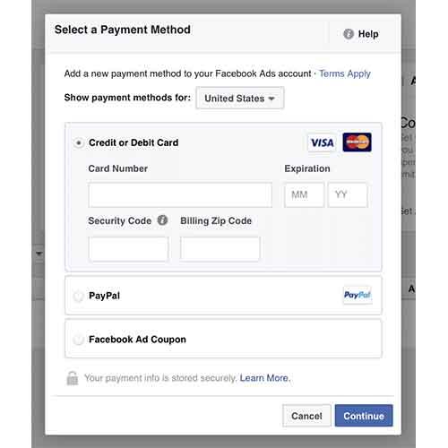 Facebook payment method
